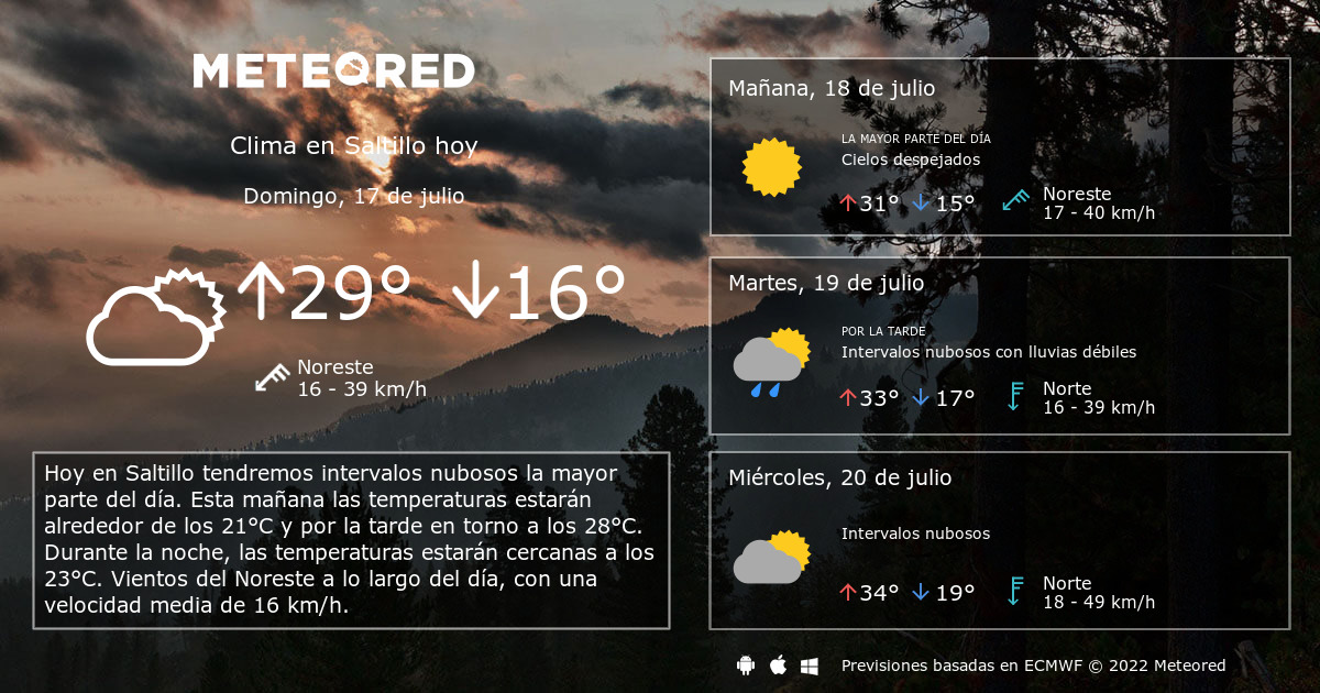 Clima En Saltillo El Tiempo A 14 Días Meteoredmx