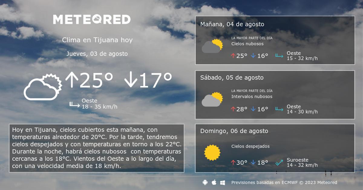 Clima en tijuana el tiempo a 14 d as for El tiempo en st hilari sacalm